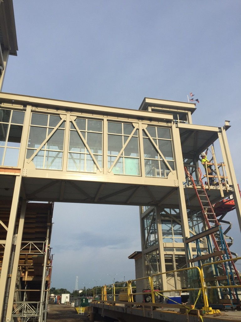 Steel Window Install Being Completed At Boston Landing Station